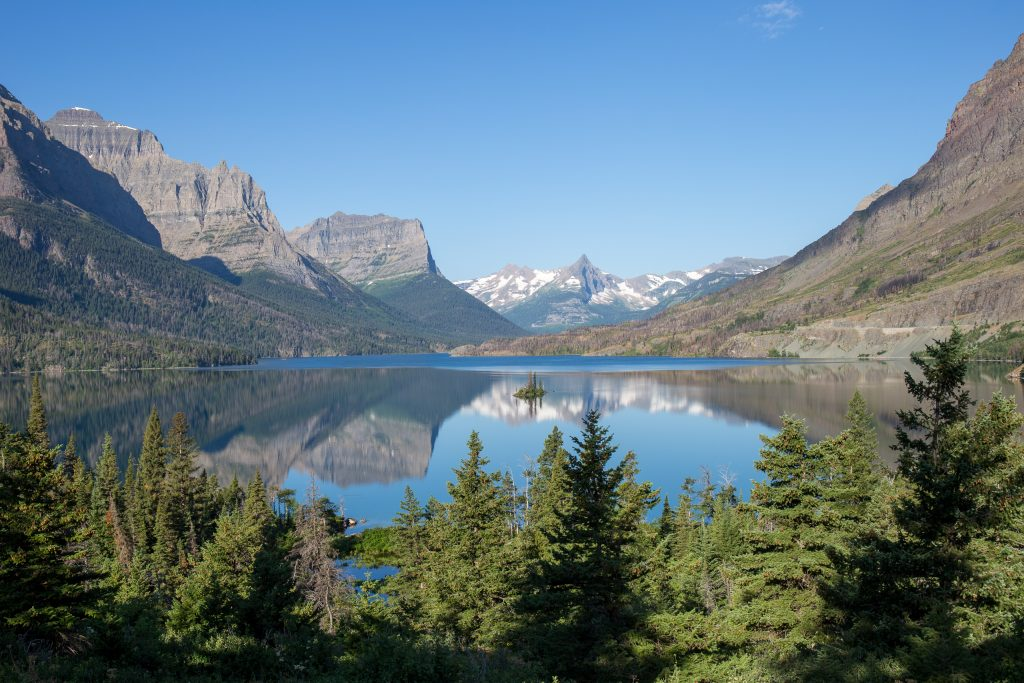 Saint Mary Lake gezien vanaf Wild Goose Island Lookout, Glacier National Park