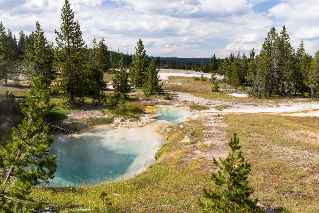 Bluebell Pool en Seismograph Pool in West Thumb Geyser Basin, Yellowstone National Park